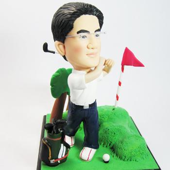 單人高爾夫球場公仔景組-場景公仔+壓克力盒